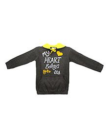Eimoie Heart Print Hooded Sweatshirt - Grey