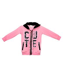 Eimoie Cute Print Hooded Sweatshirt - Pink