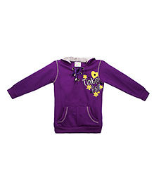Eimoie Tinker Bell Print Hooded Sweatshirt - Purple