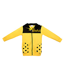 Eimoie Sinful Print Hooded Jacket - Yellow