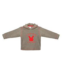 TONYBOY Teddy Applique Hooded Sweatshirt - Grey