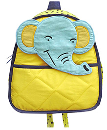 Little Pipal Jungle Collection Elephant Toddler Backpack Yellow And Blue - 11 Inches