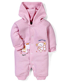 Babyhug Full Sleeves Hooded Romper Animals Embroidery - Pink