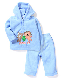 Babyhug Full Sleeves Hooded T-Shirt And Pant Animal Embroidery - Sky Blue