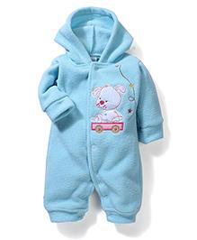Babyhug Full Sleeves Hooded Romper Embroidery - Light Blue
