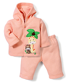 Babyhug Full Sleeves Hooded T-Shirt And Pant Patch Work - Peach
