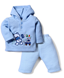Babyhug Full Sleeves Hooded T-Shirt And Pant Patch Work - Blue