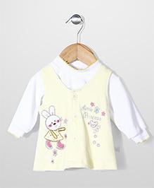 Babyhug Sleeveless Frock With Inner Top Rabbit Embroidery - Yellow