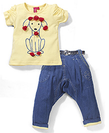 Mickey Rosette Applique Puppy Print Top & Diaper Jeans - Yellow & Navy