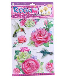 Room Decor Roses And Humming Bird Theme Wall Stickers - Pink And White