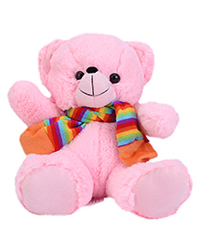 Funzoo Soft Toy Teddy Bear With Muffler Pink - Height 10 Inches