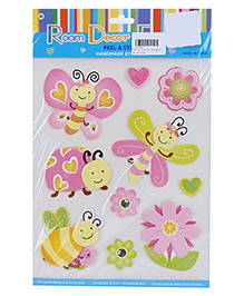Honey Bee And Flower Peel And Stick Handmade Stickers - Multicolor