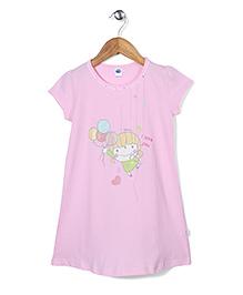 Teddy Half Sleeves Printed Nighty - Light Pink