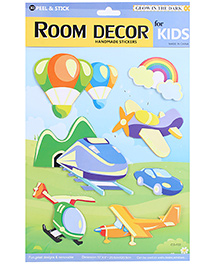 Glow In The Dark Peel And Stick Stickers Planes & Rainbow - Multicolor