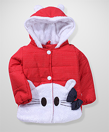 Babyhug Full Sleeves Hooded Jacket Cat Face Design - Red