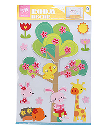 Trees With Animals And Birds Wall Decor Stickers