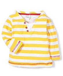 Babyhug Full Sleeves T-Shirt Stripe Print - Yellow and White