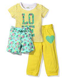 Babyhug T-Shirt Legging & Shorts Set - Yellow