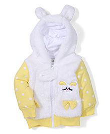 Babyhug Hooded Fleece Jacket Bow Applique - White Yellow