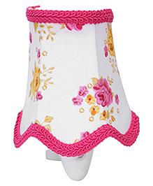 Mini Night Lamp Rose Flower Print - Yellow And Pink