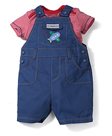 Mothercare Half Sleeves Onesies With Dungaree Style Romper - Red & Navy