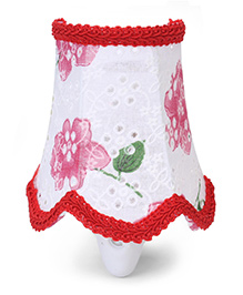 Red Rose Print Night Lamp - Red And White
