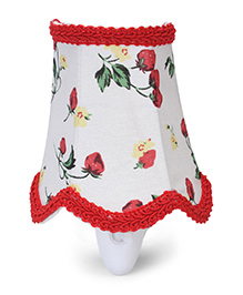 Mini Night Lamp With Flower Print - White And Red