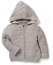 Mothercare Reverse Knit Hooded Cardigan - Grey