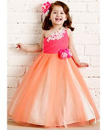 PinkCow Flower Detailing Party Dress - Orange