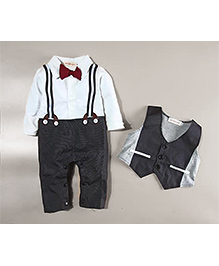 Tickles 4 U Romper With Waist Coat - Black