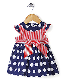 Yellow Duck Cap Sleeves Polka Dot Print Frock Bow Applique - Navy