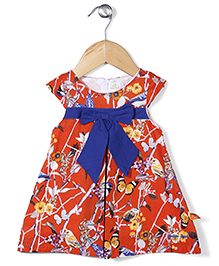 Yellow Duck Cap Sleeves Printed Frock Bow Applique - Orange