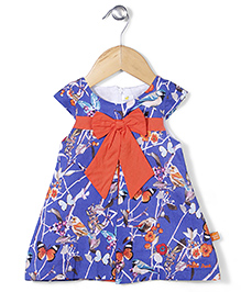 Yellow Duck Cap Sleeves Printed Frock Bow Applique - Blue