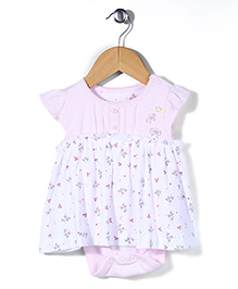 Mothercare Short Sleeves Floral Onesie Dress - Pink