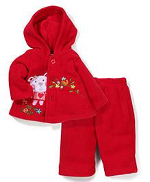 Babyhug Fleece Hooded Top And Leggings Set - Red