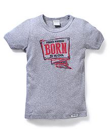 Police Zebra Juniors Born Print T-Shirt - Grey