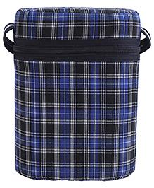 Insulated Double Bottle Bag Checks - Royal Blue & Black