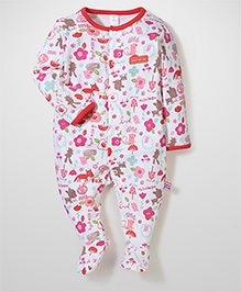 ToffyHouse Multi Animal Print Full Sleeves Footed Rompers - White & Red