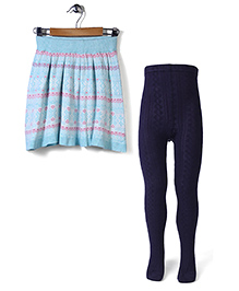 Mothercare Knitted Fairisle Skirt With Cable Knit Tights - Sky Blue & Navy