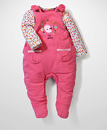 Mothercare Onesies With Dungaree Floral Embroidery - Pink