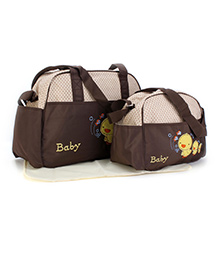 Mother Bag Set Duck Embroidery 3 Pieces - Cream & Coffee Brown
