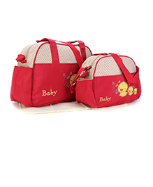 Mother Bag Set Duck Embroidery 3 Pieces - Cream & Red