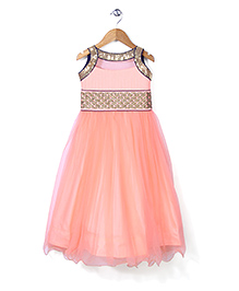 Babyhug Sleeveless Sequined Anarkali Dress - Peach