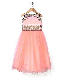 Babyhug Sleeveless Sequined Anarkali Dress - Peach