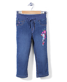 Sela Embroidered Fixed Waist Denim Jeans - Blue