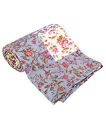 JaipurSe Floral Handmade Patchwork Quilt - Blue & White