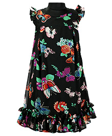Pixi Butterfly Print A - Line Dress - Black