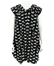 Pixi Stylish Party Wear Dress - Black & White