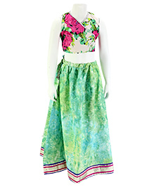 Pixi Shaded Lehenga With Floral Blouse & Bordered Dupatta - Green