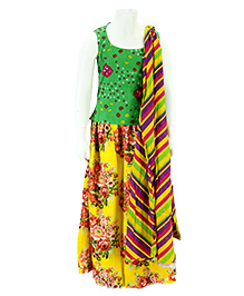 Pixi Floral Lehenga With Backless Blouse & Leheriya Dupatta - Yellow & Green